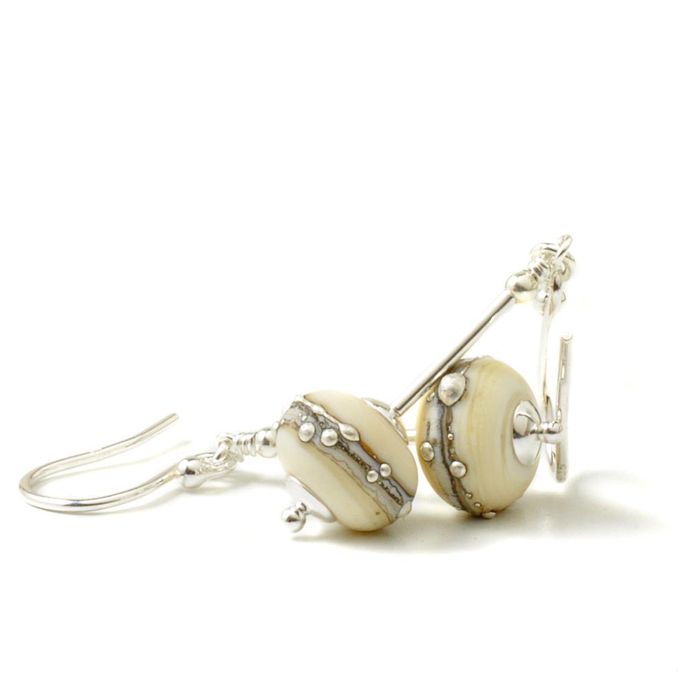 Silvered Ivory Lampwork Glass Drop Earrings