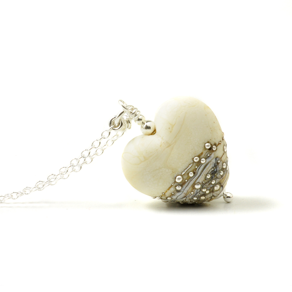 Silver Studded Ivory Glass Heart Necklace