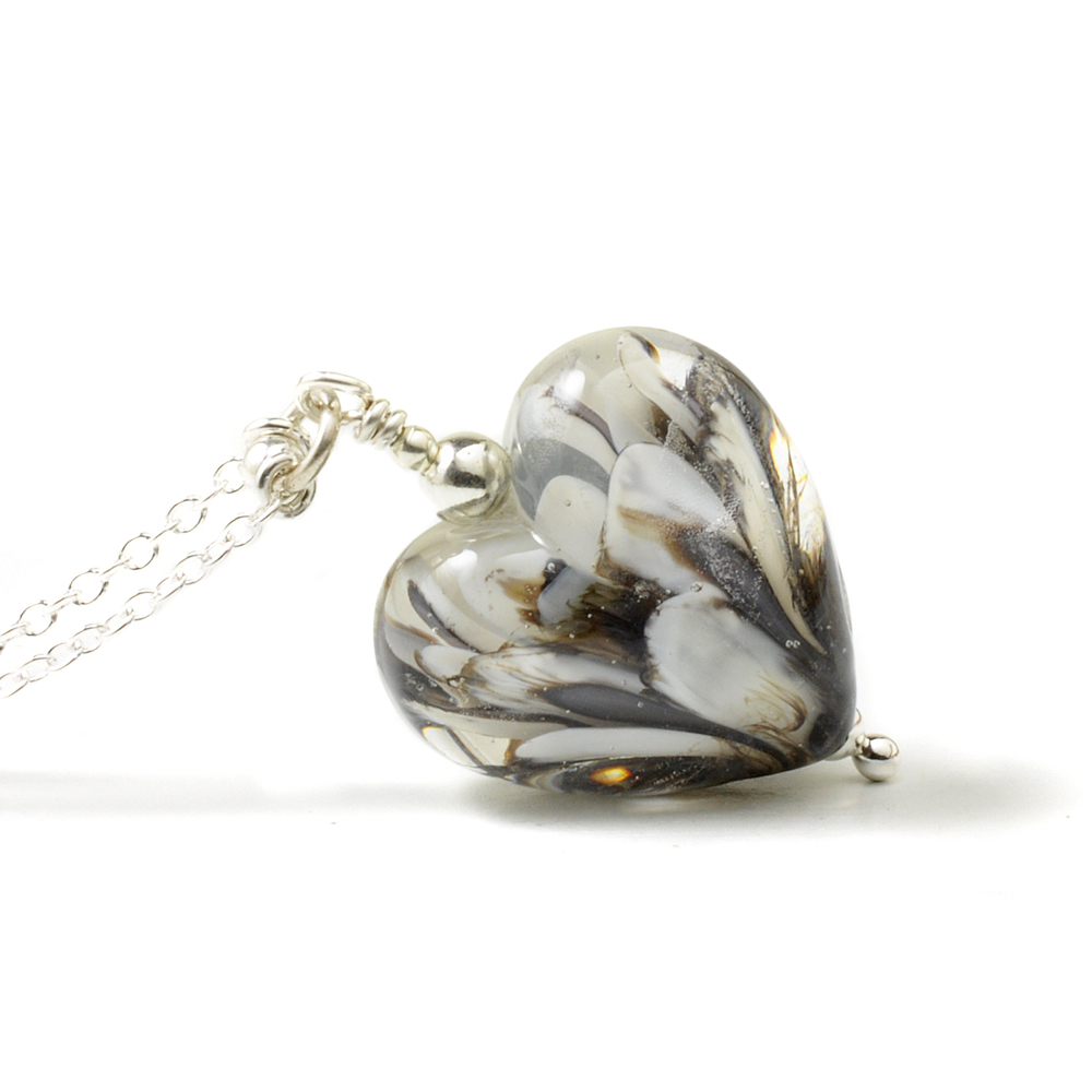 Black Swan Glass Heart Necklace