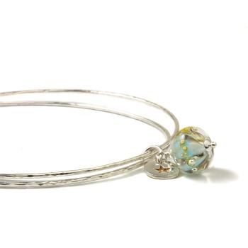 Aqua Gold Sterling Silver Charm Bangles