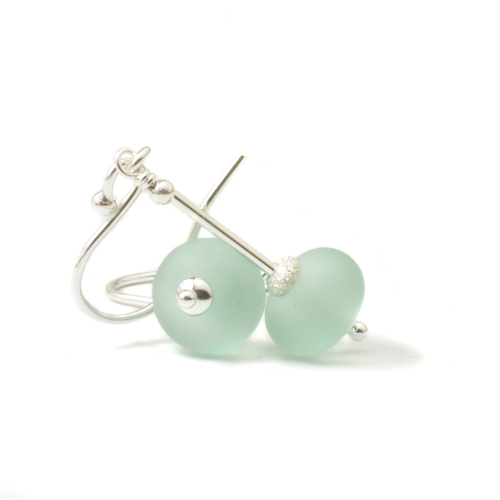 Sea Frost Lampwork Glass Drop Earrings