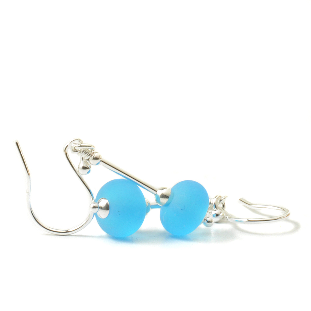 Aqua Drop Lampwork Glass Earrings