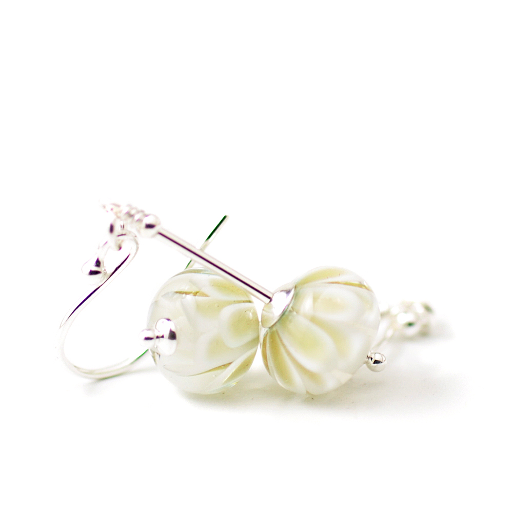 White Flower Earrings Uk Handmade Lampwork Glass Jewellery Uk