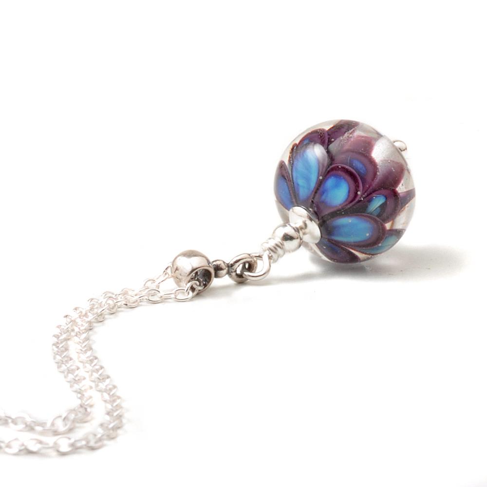 Violet Blue Small Glass Petal Pendant
