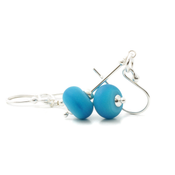 Deep Turquoise Lampwork Glass Earrings