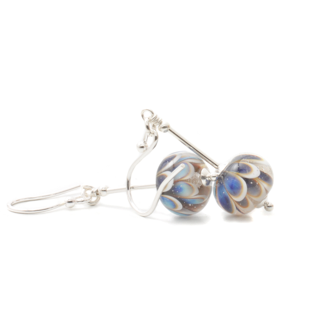 Blue Daisy Lampwork Glass and Silver Stem Earrings