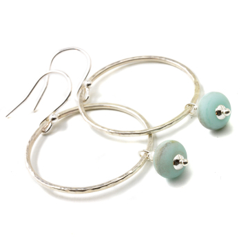 Beach Blue Hoop Earrings