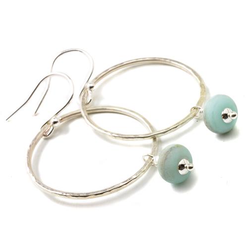 Beach Blue Hoop Earrings