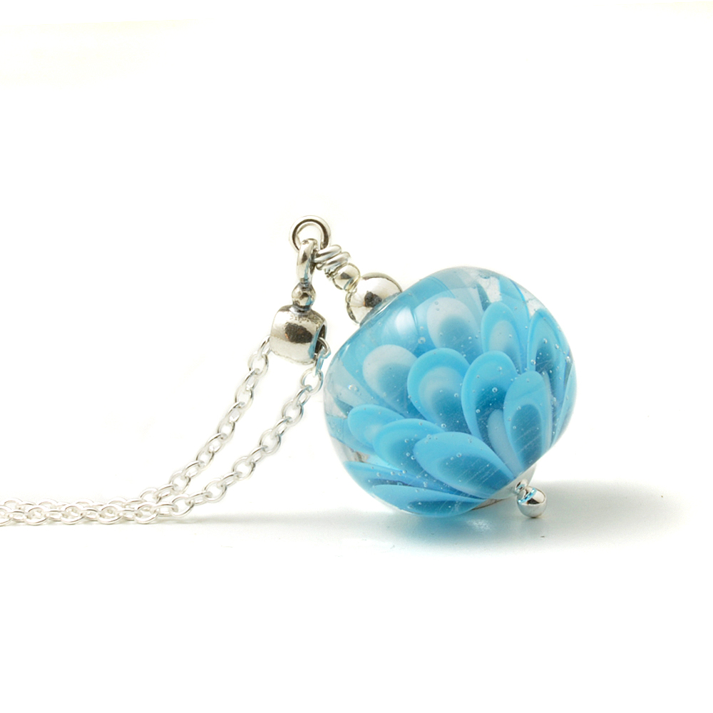 Sky Blue and Turquoise Small Glass Petal Pendant Necklace | Lampwork Jewell