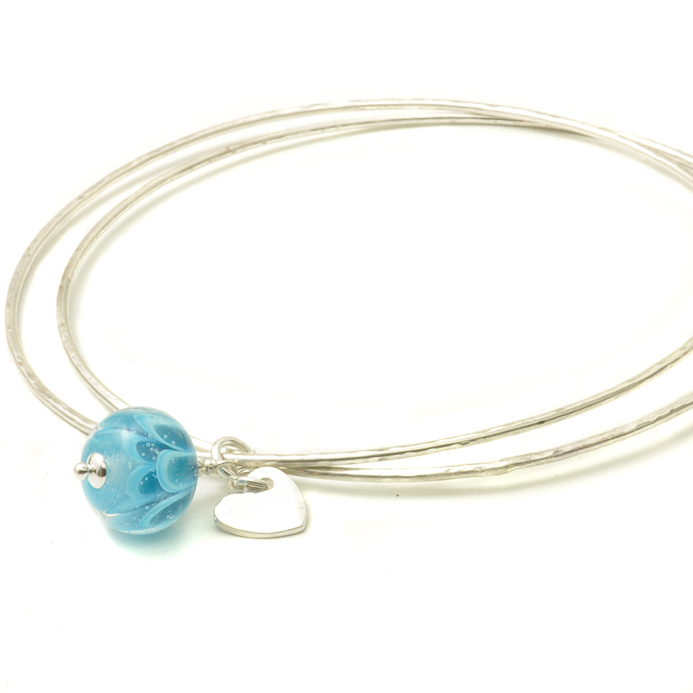 Sky Blue Petal Sterling Silver Charm Bangles