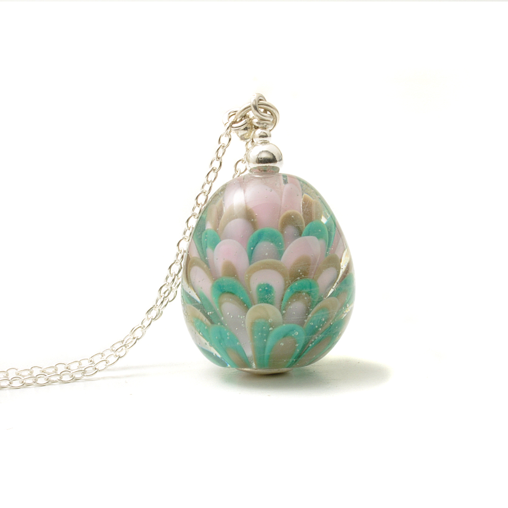 Teal Pink Long Glass and Silver Lampwork Necklace