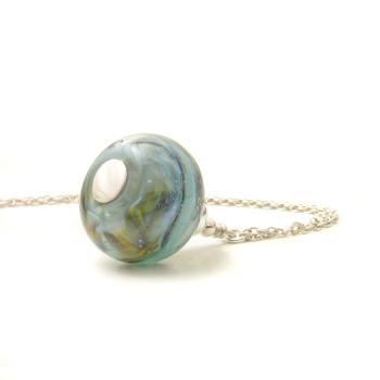Stormy Blue Long Glass Pendant Necklace