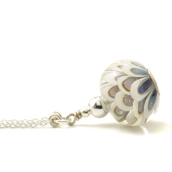 Blue Daisy Lampwork Glass Necklace