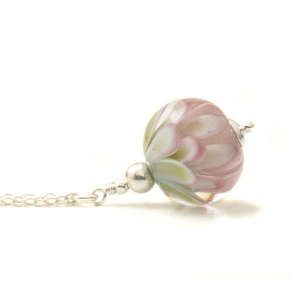 Tinted Pink Small Glass Flower Necklace