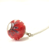 Poppy Lampwork Glass Necklace