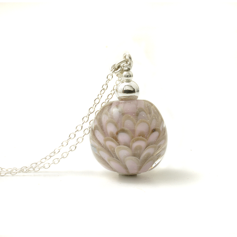 Pink and Grey Long Glass and Silver Lampwork Necklace