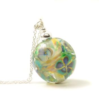 Floral Glass Globe Necklace