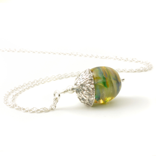 Acorn Necklace Handmade in Lampwork Glass and Silver