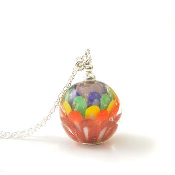 Rainbow Lampwork Glass Necklace
