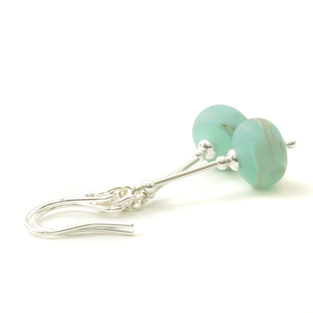 Duck Egg Blue Lampwork Glass Drop Earrings