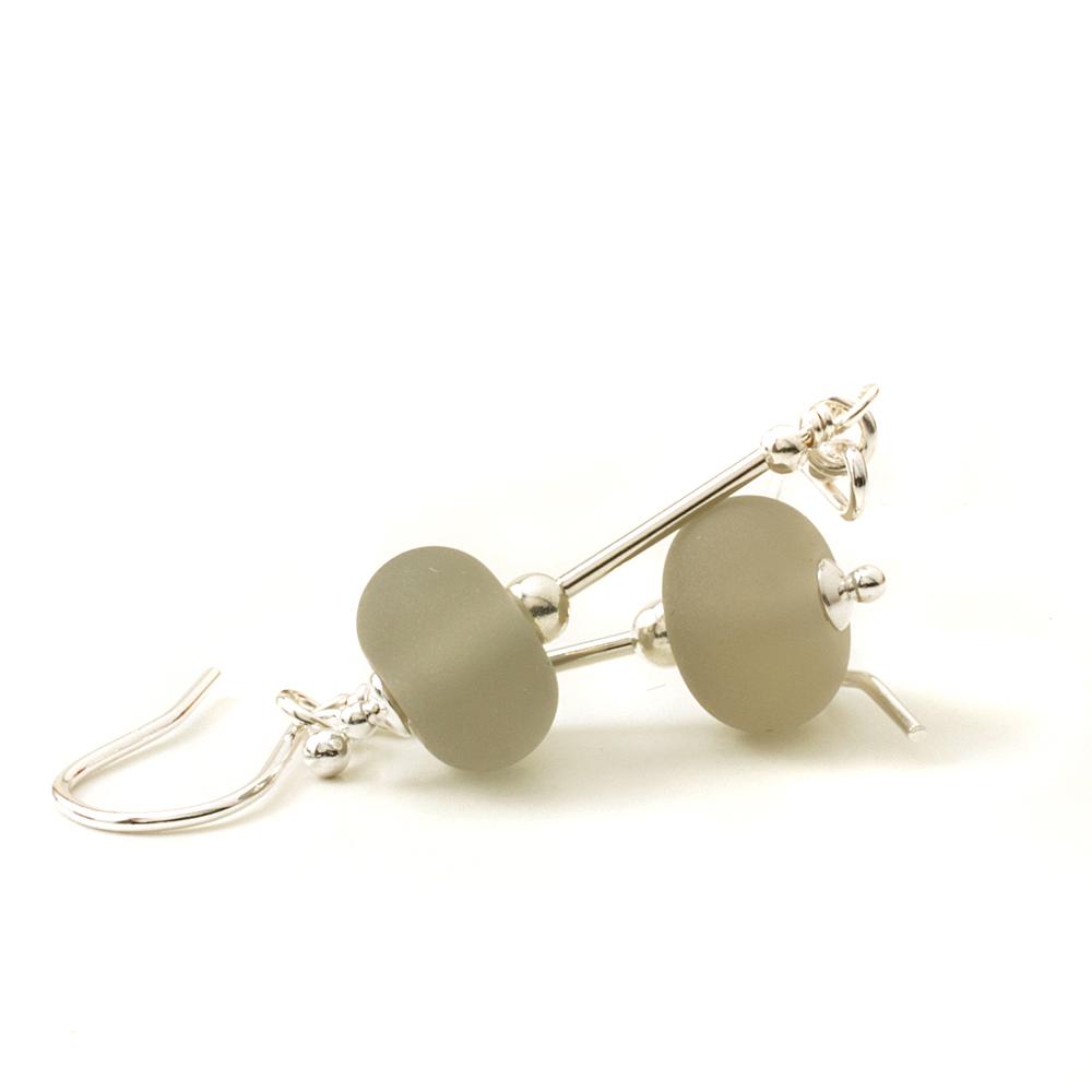 Light Grey Lampwork Glass Earrings