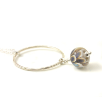 Blue Glass Petal Necklace with Hammered Silver Hoop