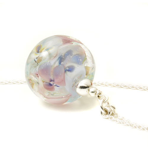 Floral Impressions Glass Pendant Necklace