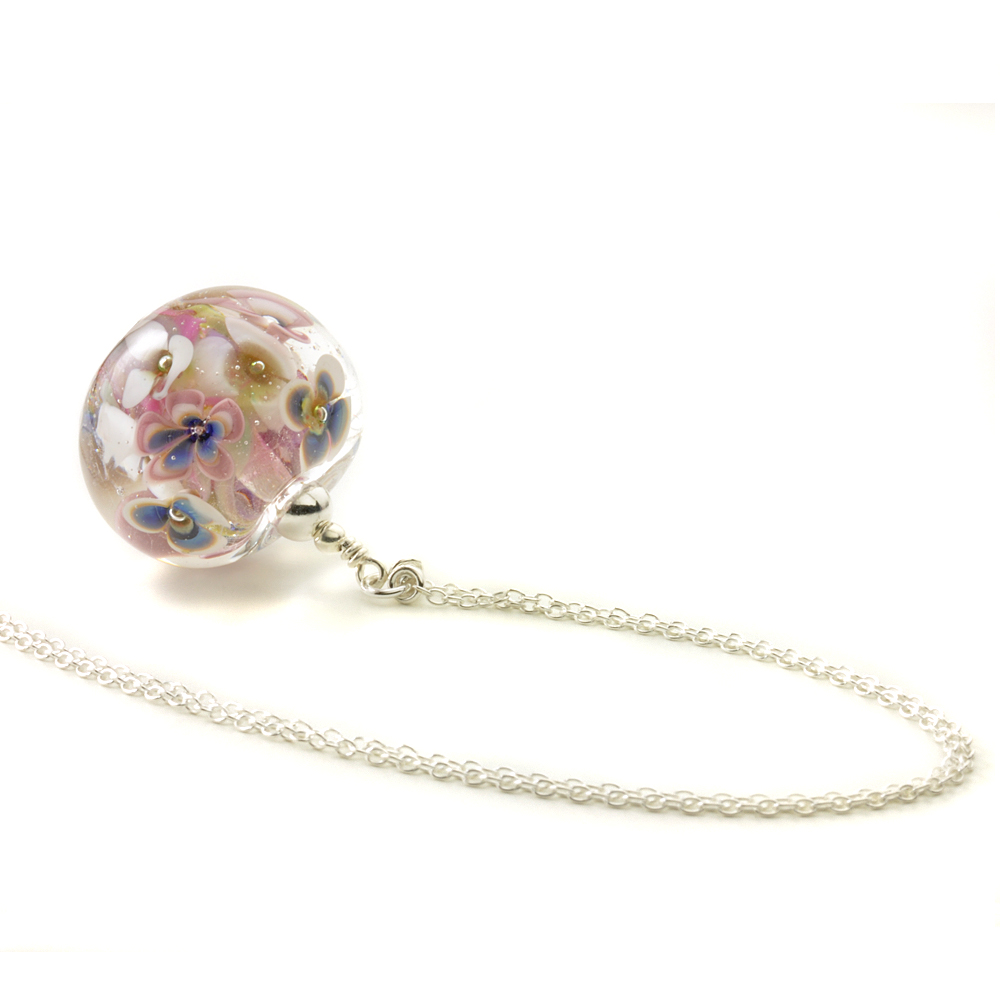Flower Bomb Glass Pendant Necklace