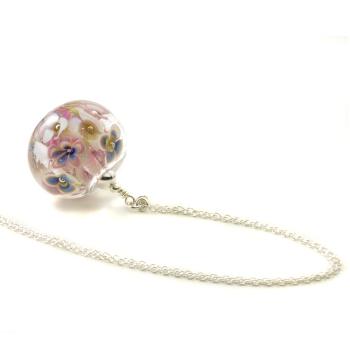 Flower Bomb Glass Pendant Necklace
