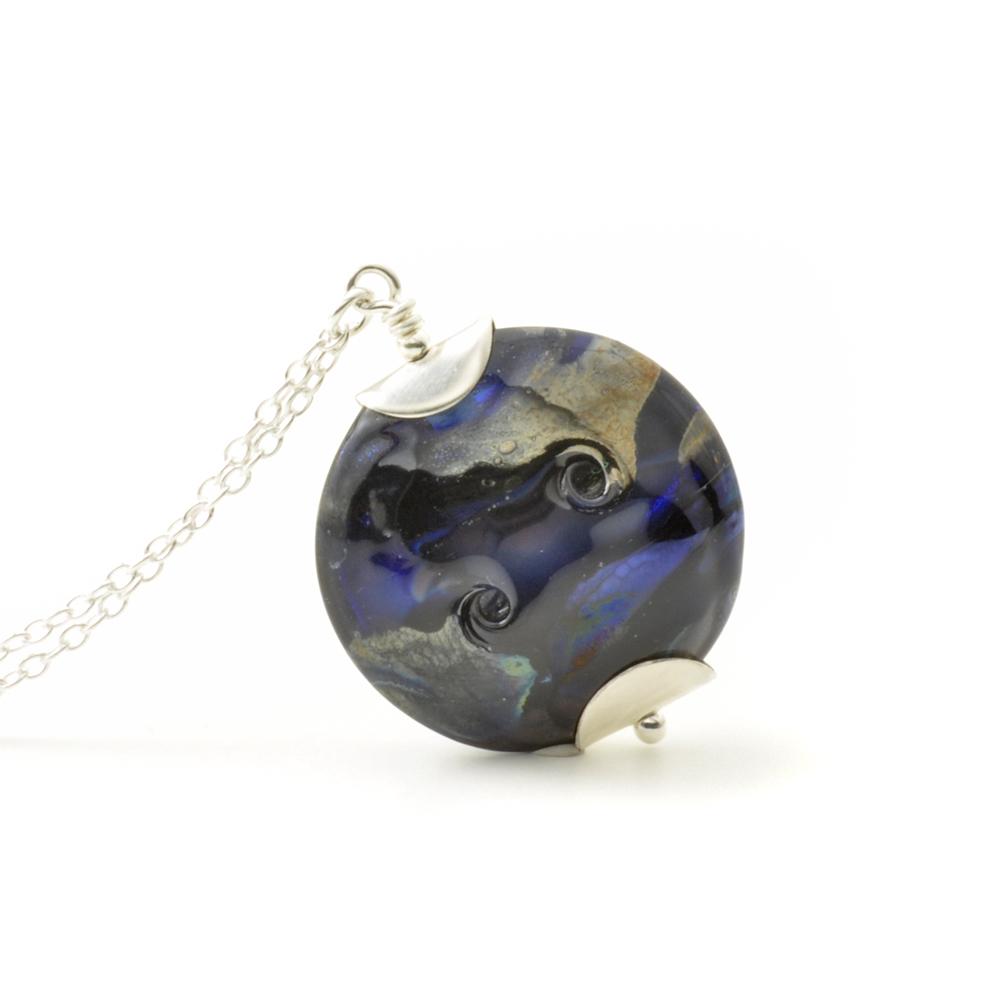 Indigo Black Lampwork Glass Necklace