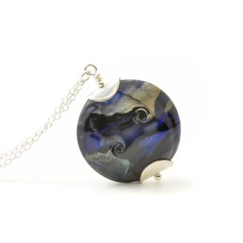 Indigo Black Lampwork Glass Necklace