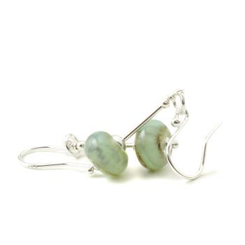 Light Green Lampwork Glass Earrings