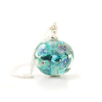 Teal Blue Floral Glass Pendant Necklace