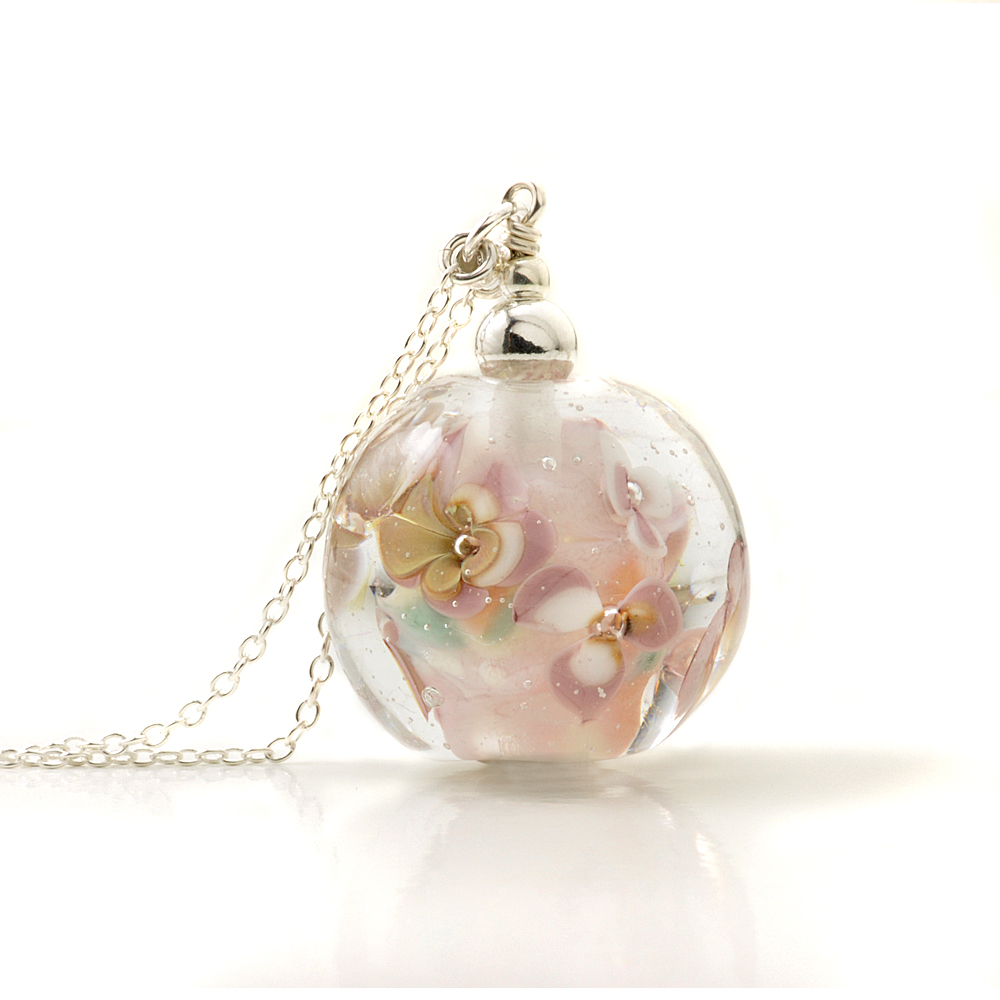 Sepia Rose Long Floral Glass Pendant Necklace