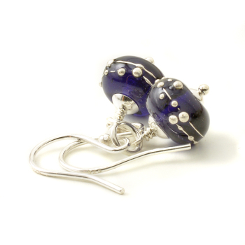 Simplicity Collection Lampwork Glass Earrings in Dark Violet