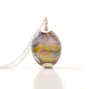 Rainbow Violet Lampwork Glass Pendant Necklace