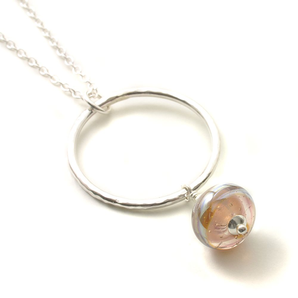 Blush Pink Lampwork Necklace with Hammered Silver Hoop