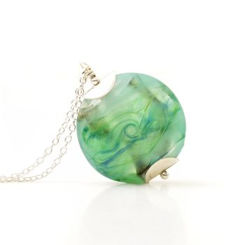 Pale Greens Lampwork Glass Necklace