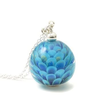 Bright Blue Long Lampwork Glass and Silver Necklace