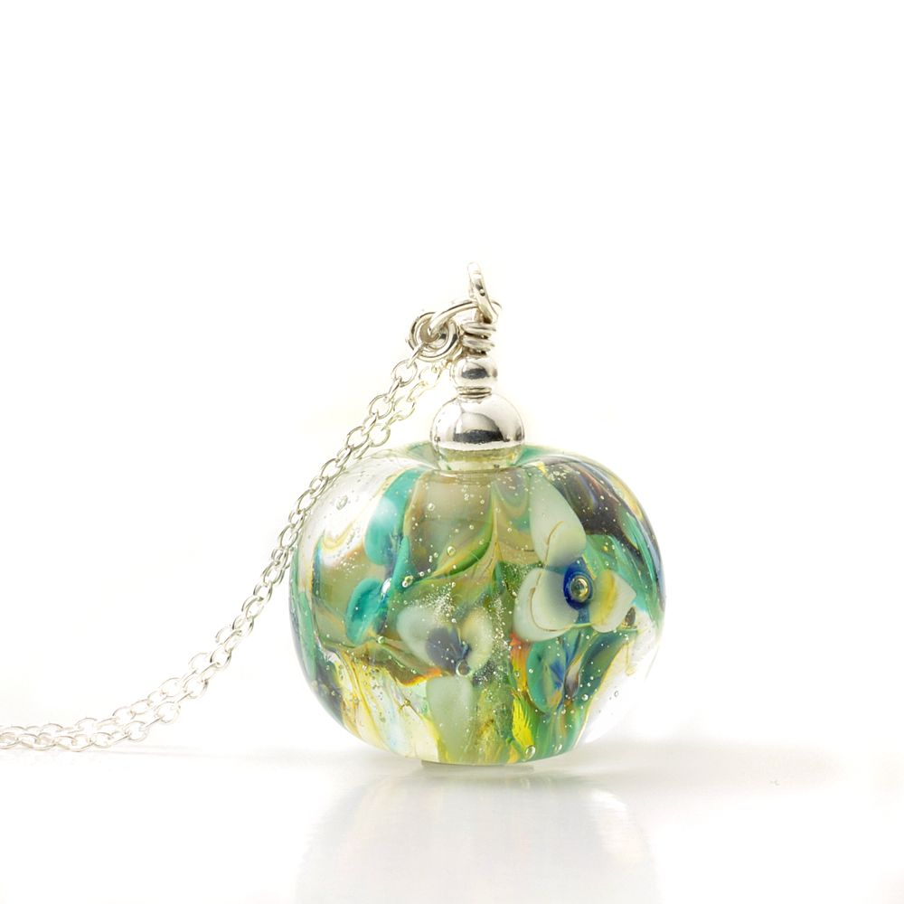 Floral Glass Globe Necklace