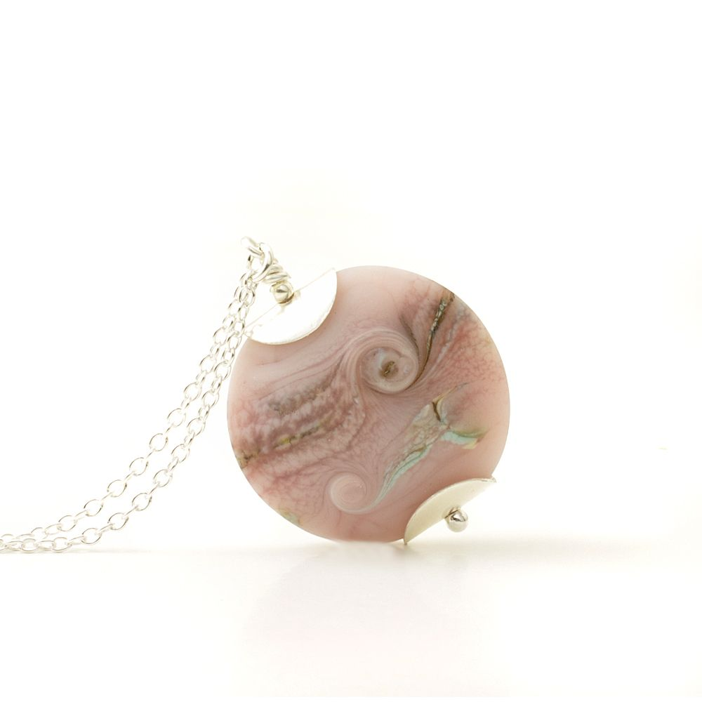 Coast Lampwork Glass Necklace in Pebble Pink