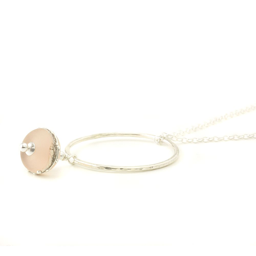 Blush Pink Silvered Glass with Hammered Silver Hoop Necklace