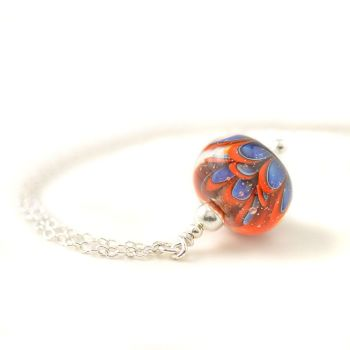 Blue Coral Lampwork Glass Flower Necklace
