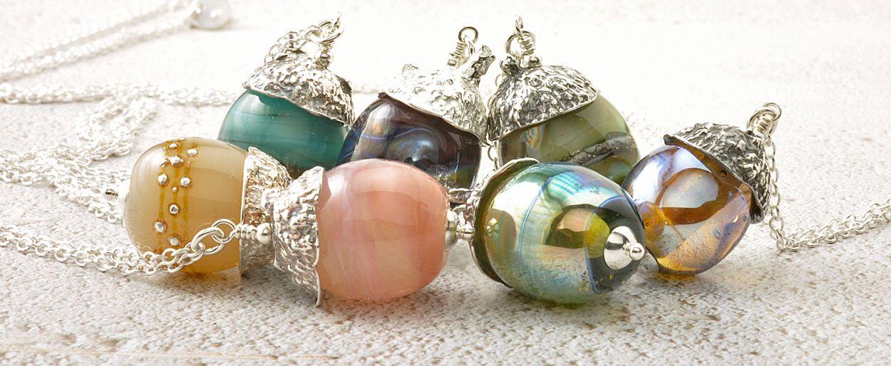 Lampwork Glass Acorn Necklaces