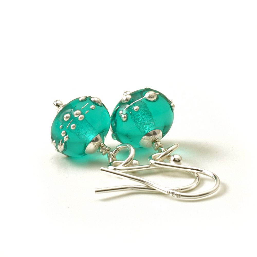 Teal Green Earrings Glass Drops Lampwork