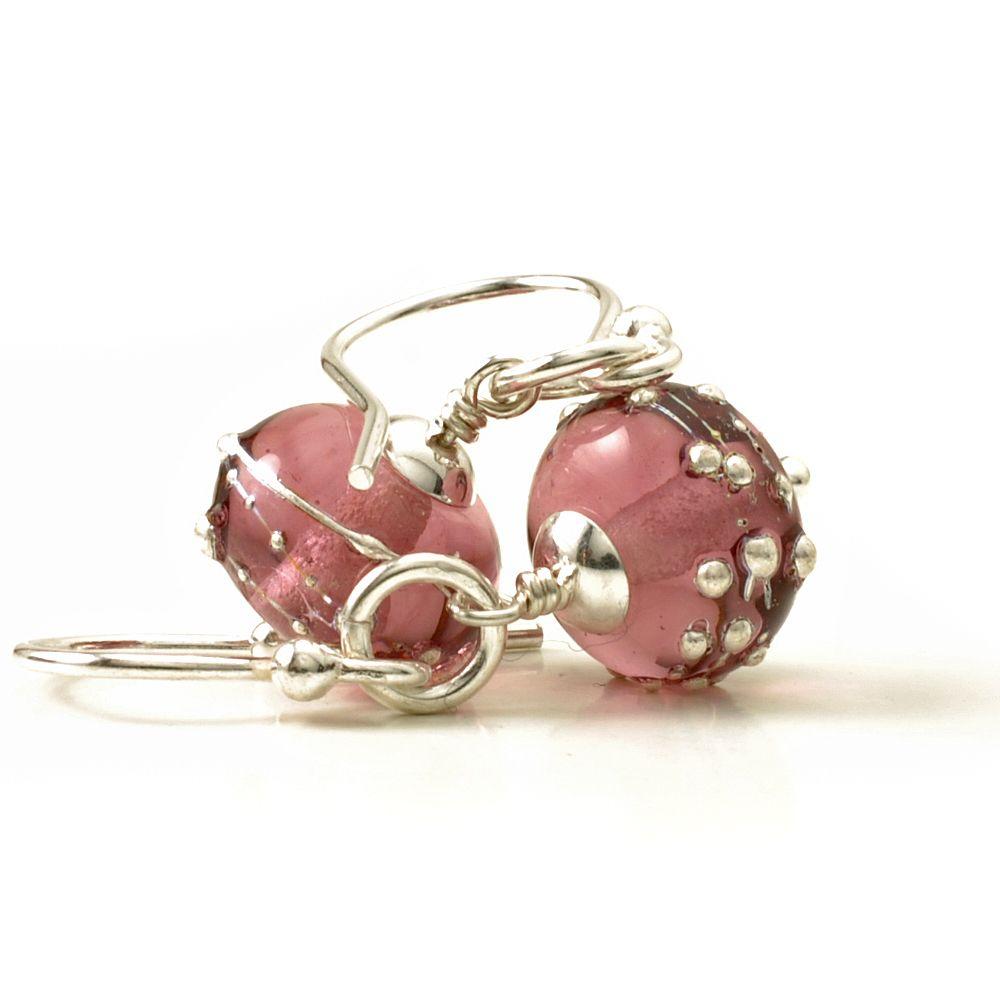 Purple Glass Drop Earrings Sterling Silver Amethyst