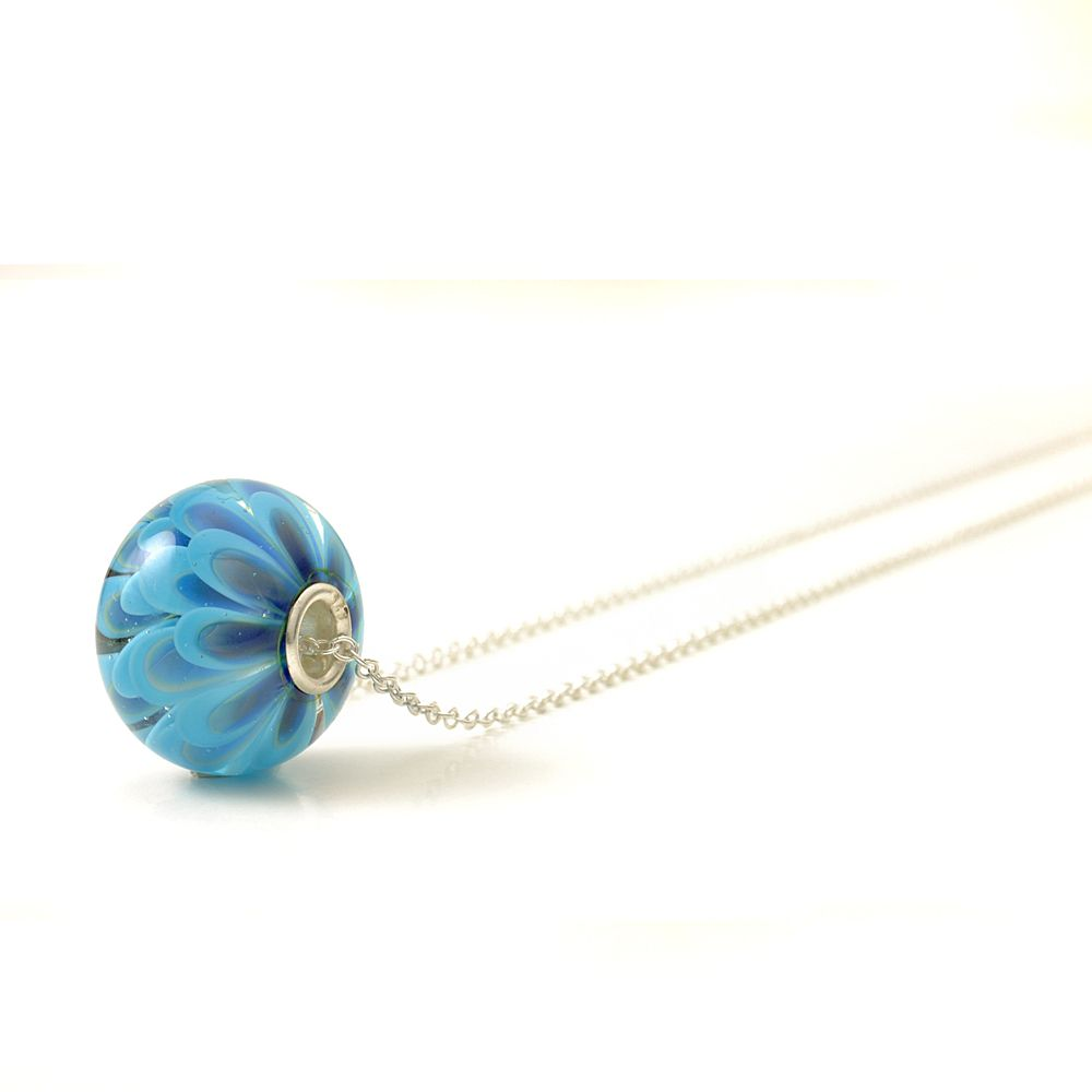 Sky Blue Glass Flower Charm Necklace