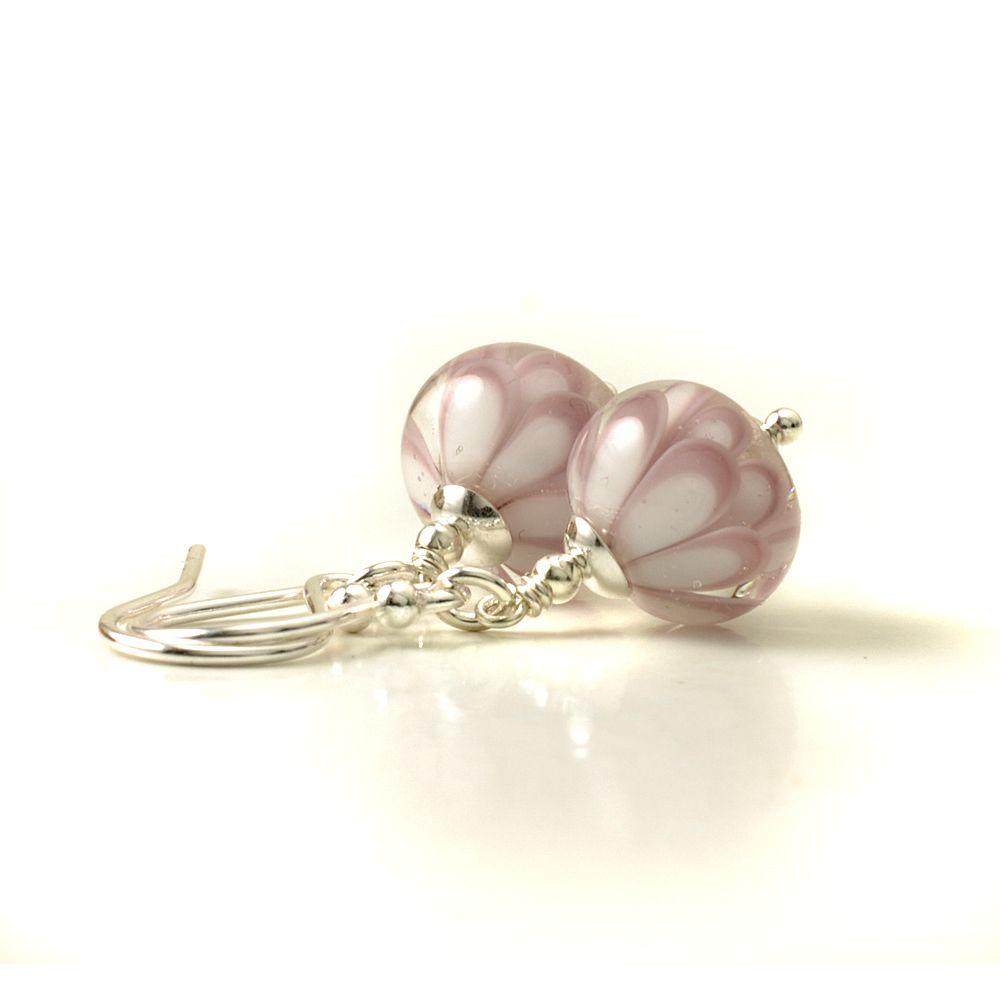 Pink Blossom Lampwork Glass Petal Earrings