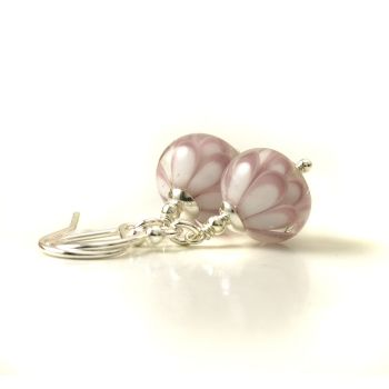 Pink Blossom Lampwork Glass Petal Earrings