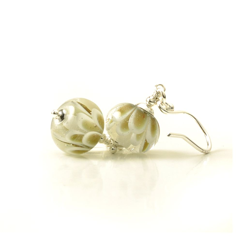 White and Gold Glass Flower Earrings